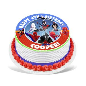 Spider-Man Into the Spider-Verse Edible Image Cake Topper Personalized Birthday Sheet Decoration Custom Party Frosting Transfer Fondant Round Circle