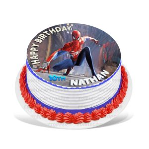 Spider-Man Edible Image Cake Topper Personalized Birthday Sheet Decoration Custom Party Frosting Transfer Fondant Round Circle