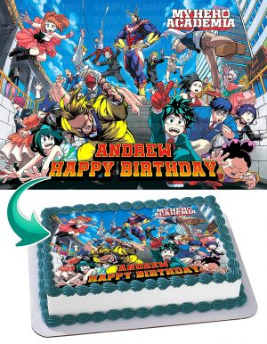 My Hero Academia 3 Edible Image Cake Topper Personalized Birthday Sheet Decoration Custom Party Frosting Transfer Fondant