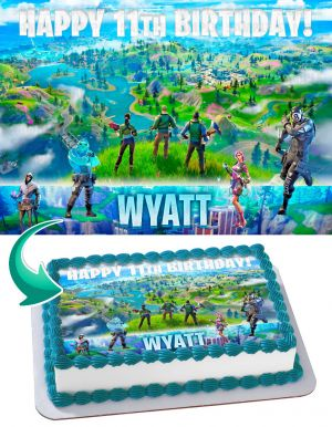 Fortnite Chapter 2 Edible Cake Image Topper Personalized Birthday Sheet Decoration Custom Party Frosting Transfer Fondant