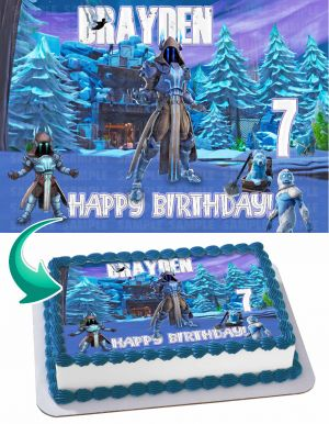 Fortnite Ice King Edible Image Cake Topper Personalized Birthday Sheet Decoration Custom Party Frosting Transfer Fondant