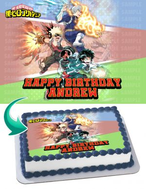 My Hero Academia Edible Image Cake Topper Personalized Birthday Sheet Decoration Custom Party Frosting Transfer Fondant