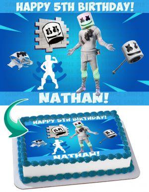 Marshmello Fortnite Edible Image Cake Topper Personalized Birthday Sheet Decoration Custom Party Frosting Transfer Fondant