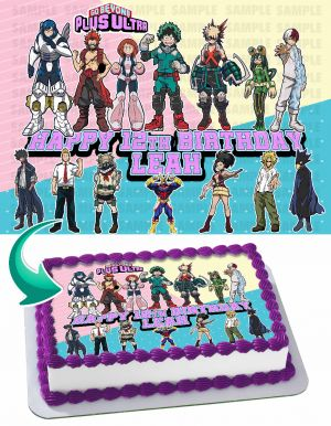 My Hero Academia 5 Edible Image Cake Topper Personalized Birthday Sheet Decoration Custom Party Frosting Transfer Fondant