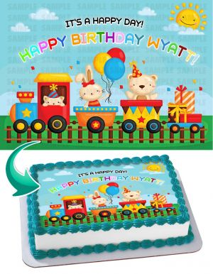 Choo Choo Train Edible Image Cake Topper Personalized Birthday Sheet Decoration Custom Party Frosting Transfer Fondant