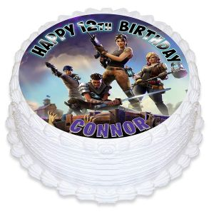FORTNITE Edible Image Cake Topper Personalized Birthday Sheet Decoration Custom Party Frosting Transfer Fondant Round Circle