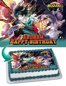 My Hero Academia 4 Edible Image Cake Topper Personalized Birthday Sheet Decoration Custom Party Frosting Transfer Fondant