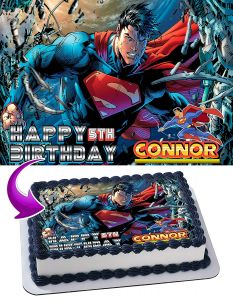 Superman Edible Image Cake Topper Personalized Birthday Sheet Decoration Custom Party Frosting Transfer Fondant