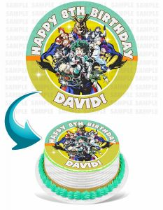 My Hero Academia Edible Image Cake Topper Personalized Birthday Sheet Decoration Custom Party Frosting Transfer Fondant Round Circle
