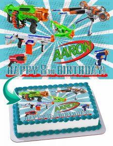Nerf Toys, Blaster Guns Edible Image Cake Topper Personalized Birthday Sheet Decoration Custom Party Frosting Transfer Fondant