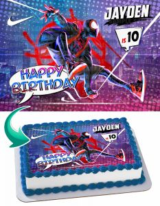 Spider-Man Into the Spider-Verse Edible Image Cake Topper Personalized Birthday Sheet Decoration Custom Party Frosting Transfer Fondant Spiderman